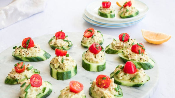 TUNA AND AVOCADO CUCUMBER TOPPERS