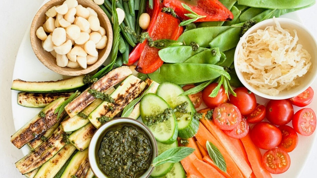 Healthy Veggie Party Platter with Macadamia Pesto