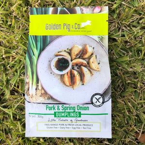 Golden Pig gluten free and diary free pork & spring onion dumplings available for collection from certain pick up points around Brisbane