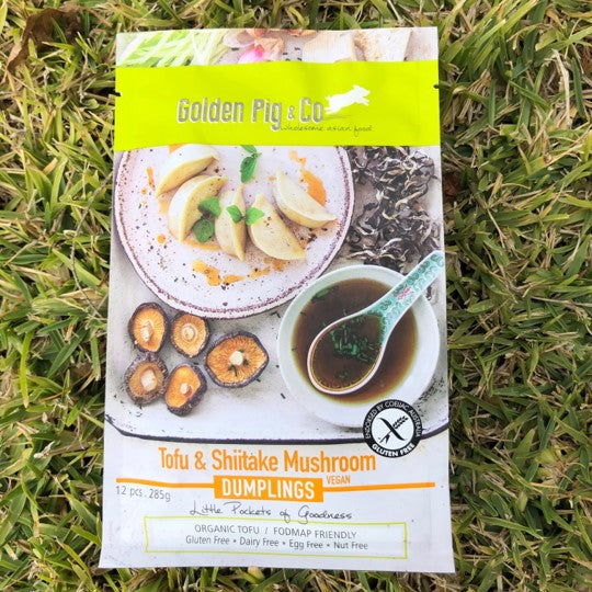 Golden Pig Tofu & Shitake Mushroom dumplings which are vegan, gluten free and dairy free available for collection in Brisbane