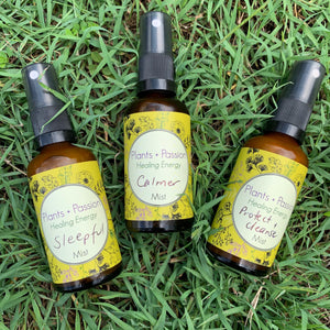 Plants + Passion flower essence mists, wonderful energy medicine to help with emotional wellbeing available in Brisbane