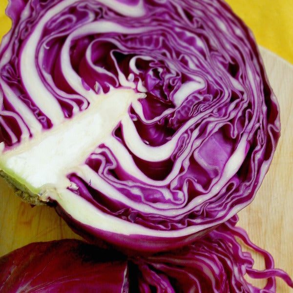Organic half red cabbage from fruit and vegetables section at Spray Free Farmacy Brisbane