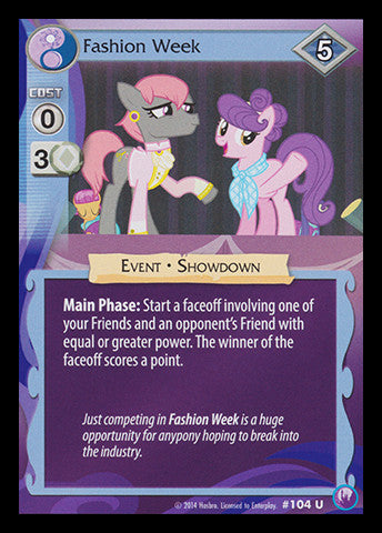 My Little Pony Card Game #104 Fashion Week - Uncommon