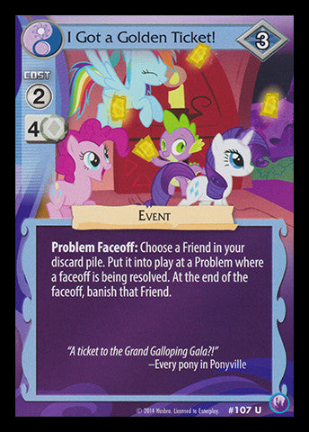 My Little Pony Card Game #107 I got a Golden Ticket! - Uncommon