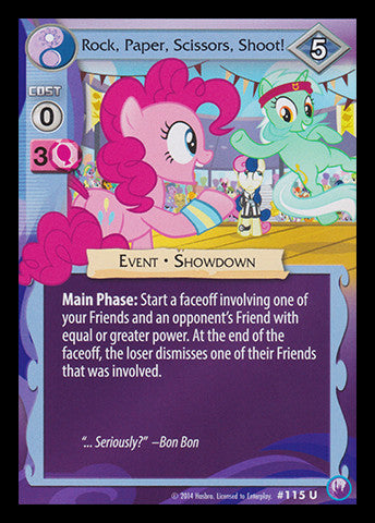 My Little Pony Card Game #115 Rock, Paper, Scissors, Shoot! - Uncommon