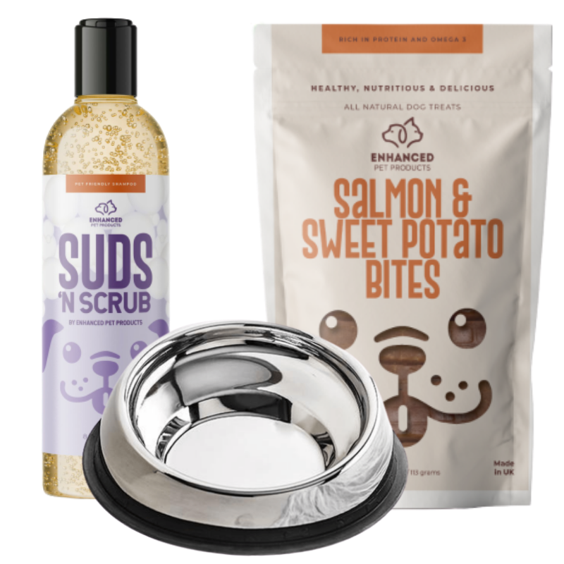 1 Bowl W/Stand, 1 Pack Treats, 1 Enhanced Shampoo
