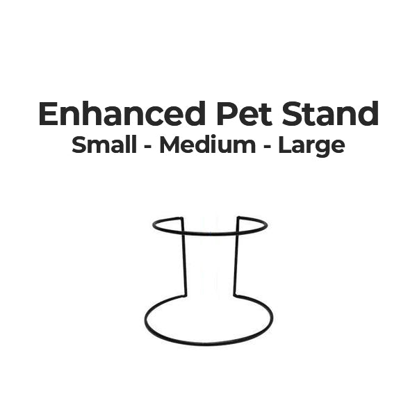 The enhanced pet stand comes in 3 sizes small, medium and large