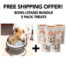 Load image into Gallery viewer, Enhanced Pet Bowl + Stand + 5 Treats FREE SHIPPING Bundle