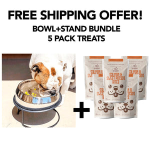 Enhanced Pet Bowl + Stand + 5 Treats FREE SHIPPING Bundle