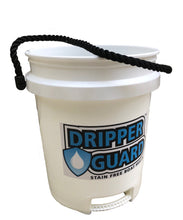 An image of the Dripper Guard white, five-gallon bucket with black rope handle and built-in handle at the bottom.