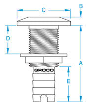 "GROCO 1-1/8"" Barb Stainless Steel Thru Hull"