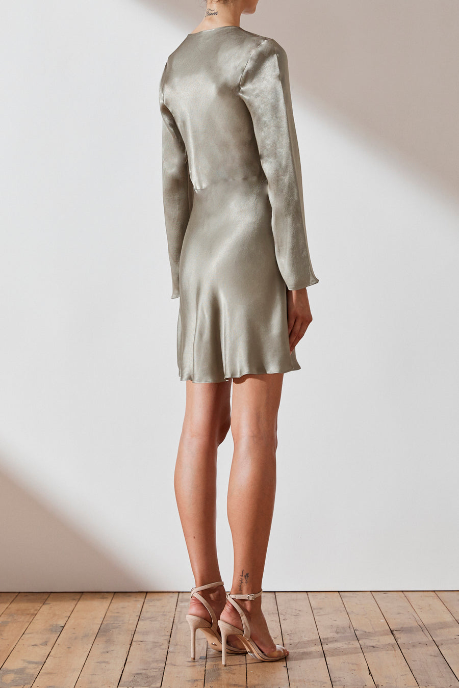 Joan Long Sleeve Bias Mini Dress