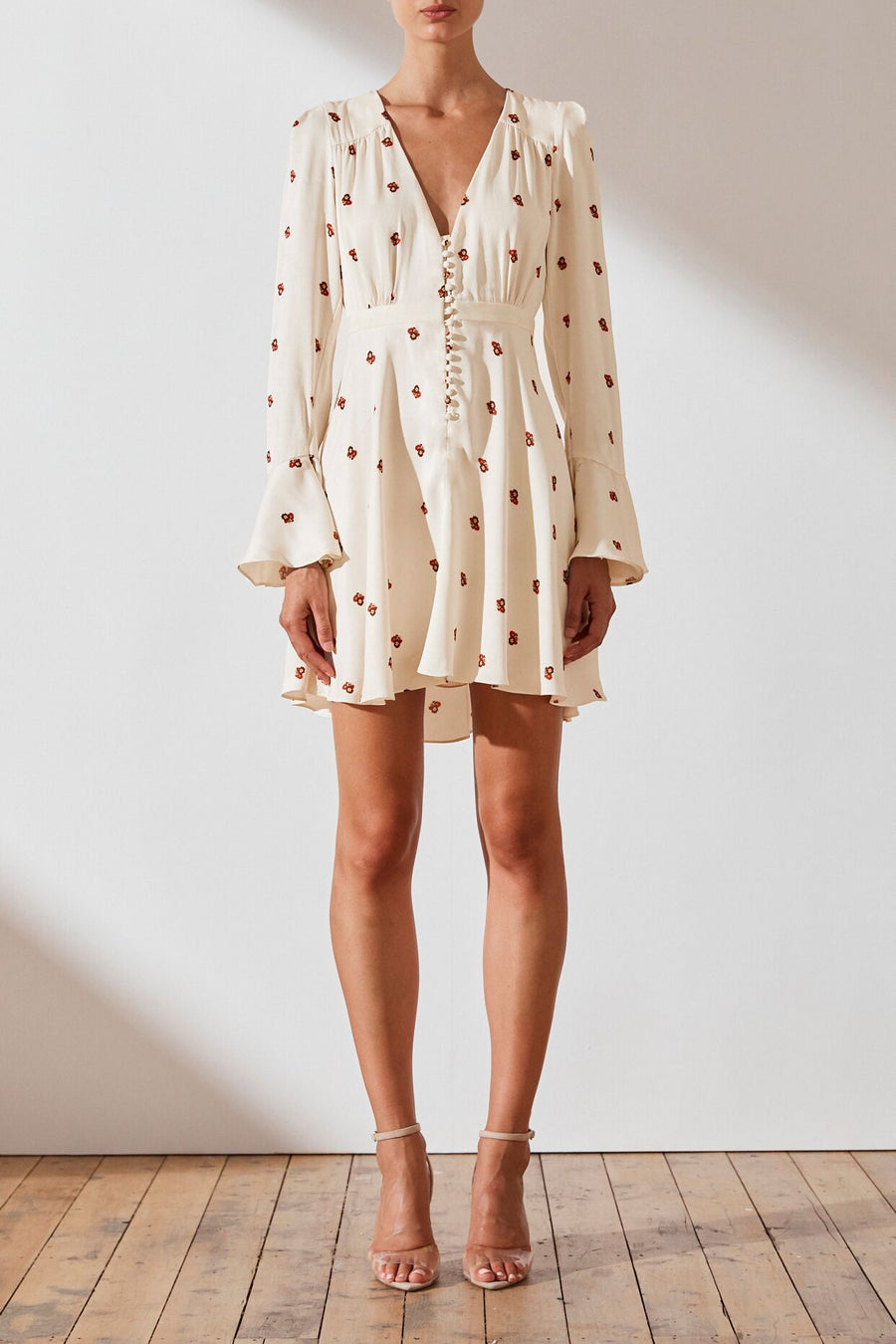 Lester Frill Cuff Mini Shirt Dress