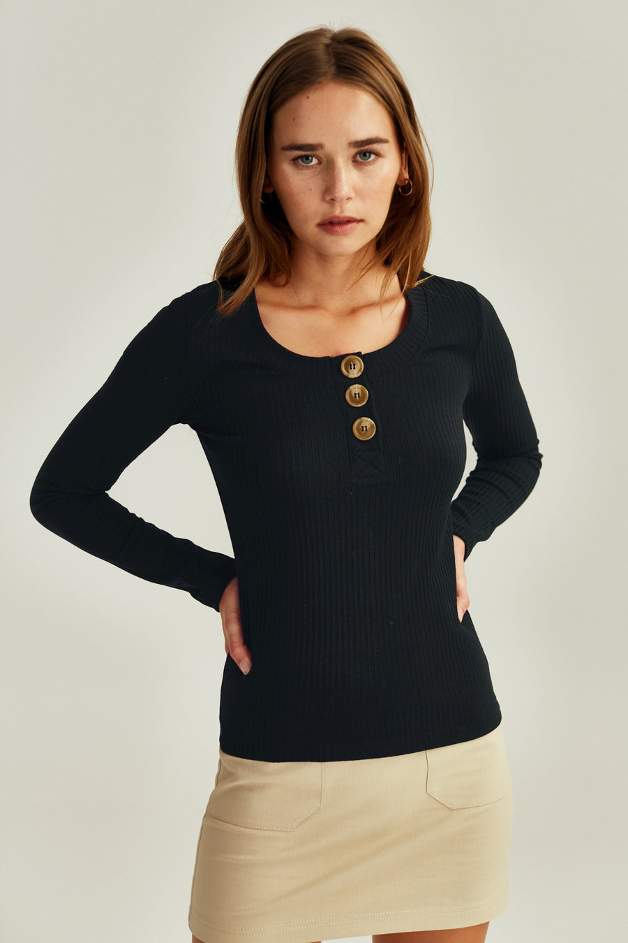 Forest Long Sleeve Top in Black