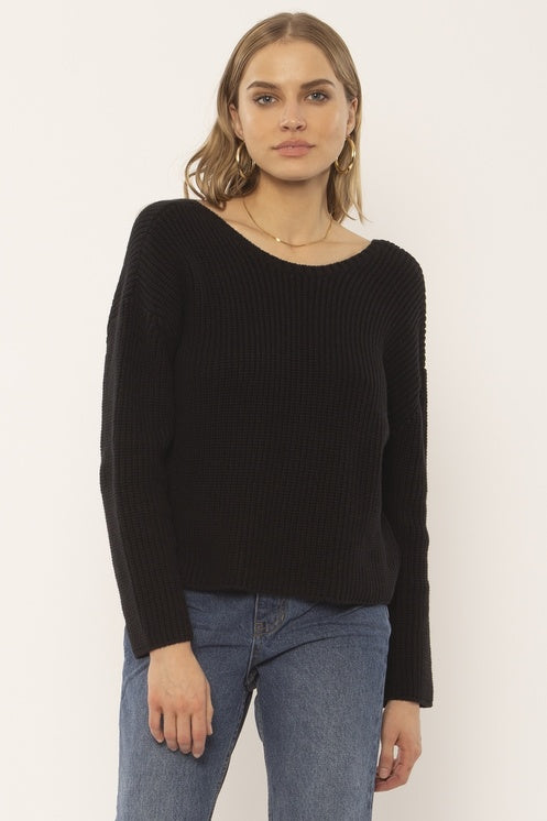 SUNSET ROAD KNIT SWEATER - BLACK