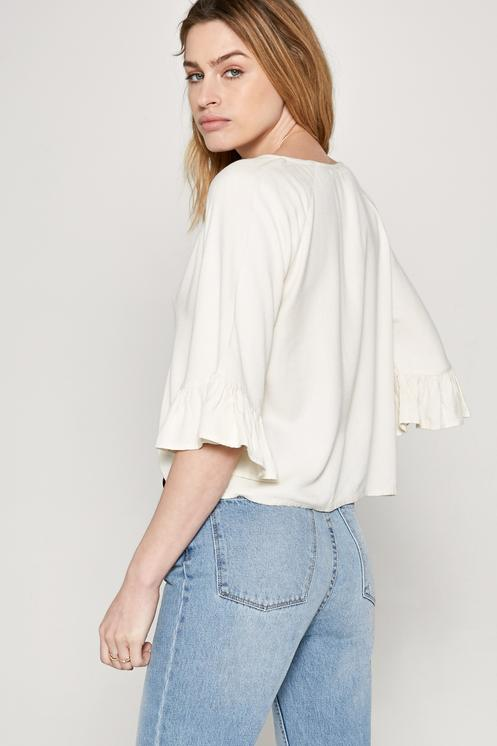 Amuse Society Cloudscape Woven Top Blouse in Cream