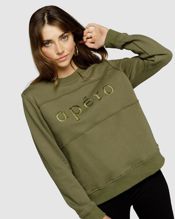 Apéro Embroidered Panel Jumper - Olive