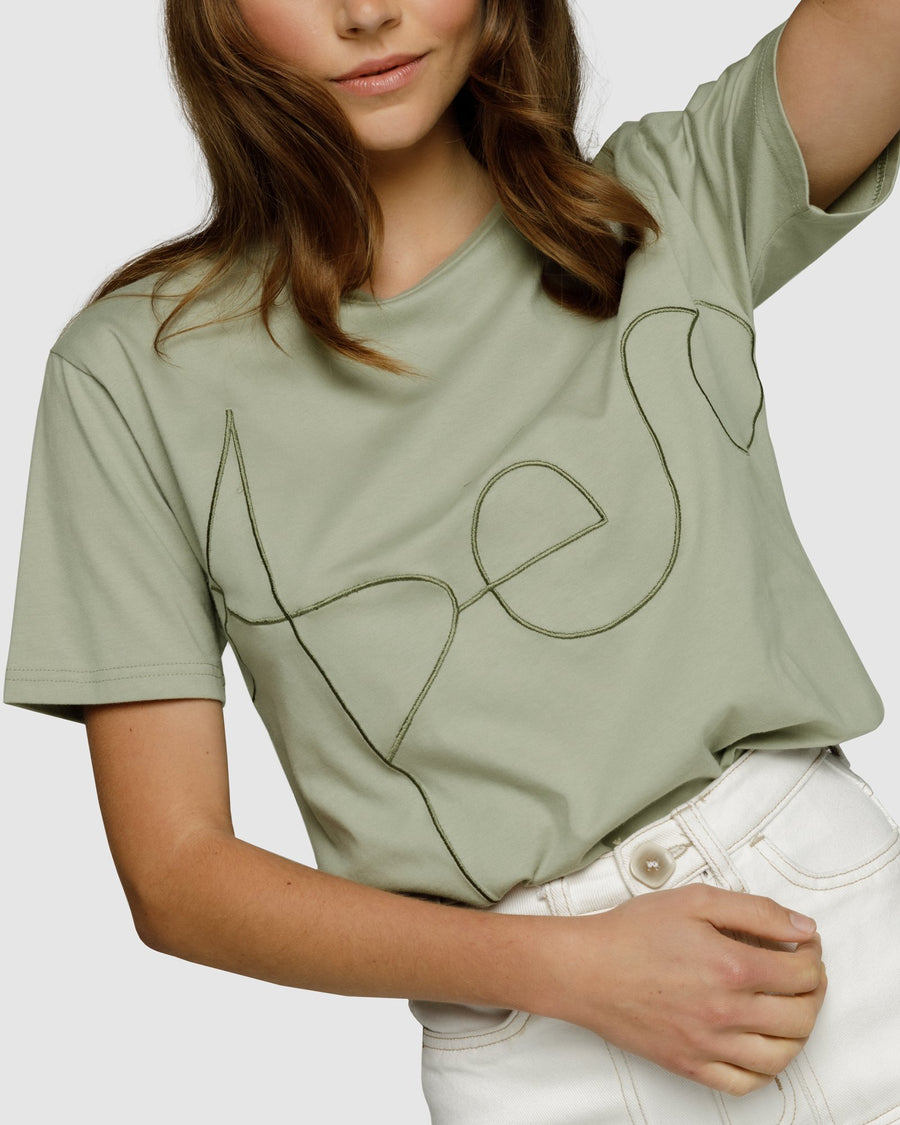ARTIST EMBROIDERED TEE - SAGE