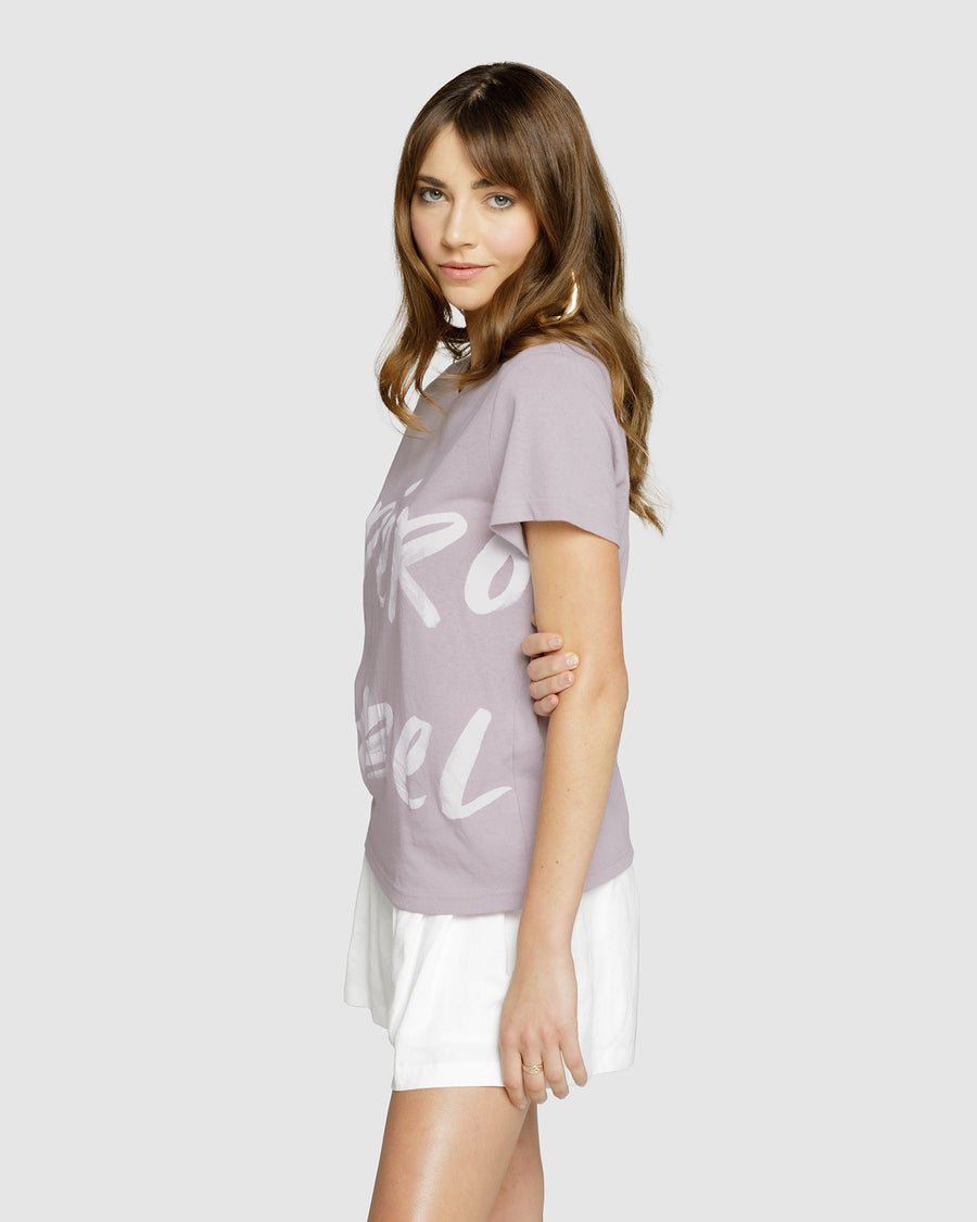 Banksy Printed Femme Tee - Lilac/White