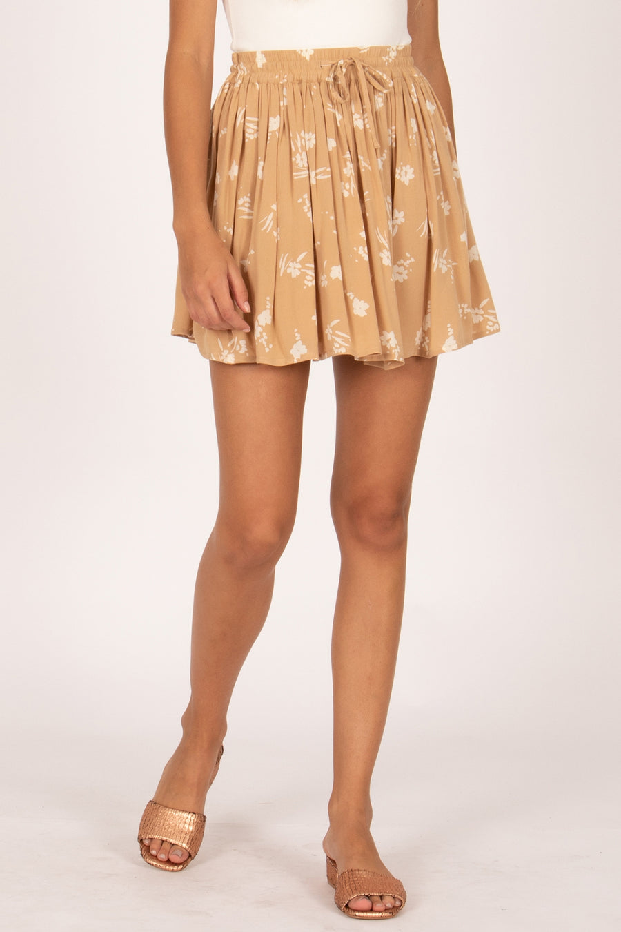 coconut kiss mini woven skirt latte summer