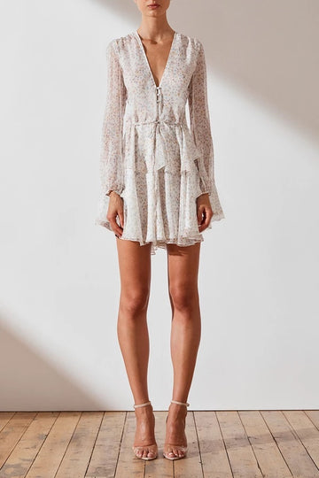 GARNER DRAWSTRING MINI DRESS - IVORY