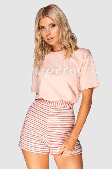 Apéro Beaded Tee - Peach / White