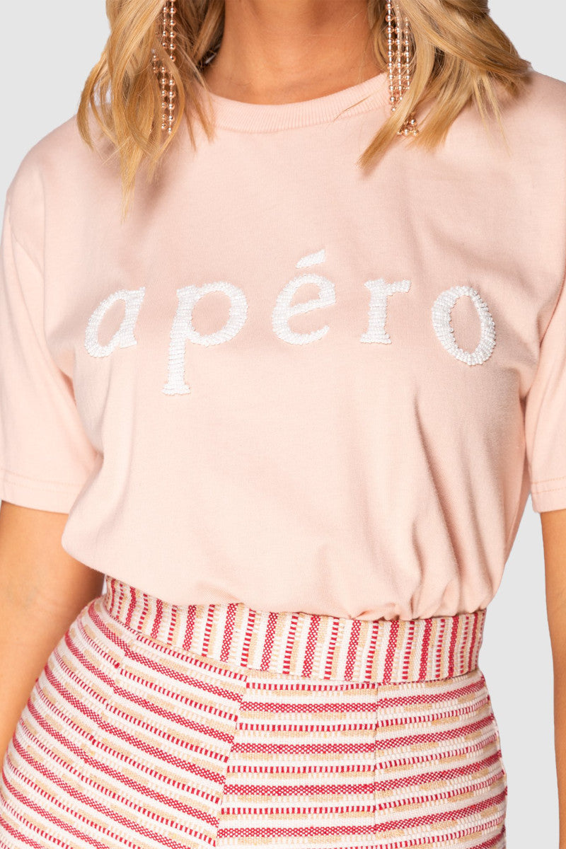 Apero Beaded Tee in Peach with White Bead