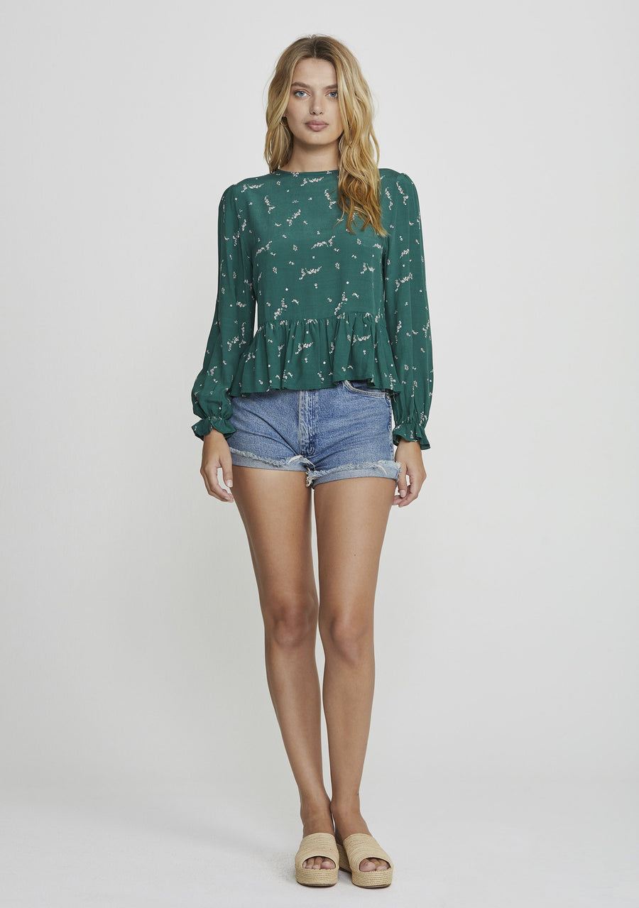 Clementine Bonne Blouse in Emerald