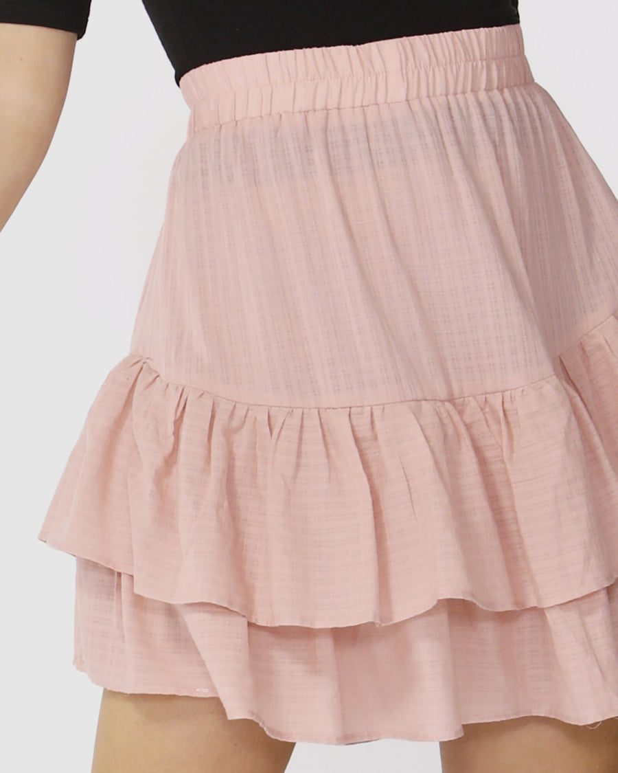 Ruffle Check Skirt