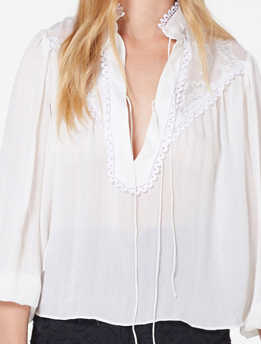 Stevie May lace boho white blouse