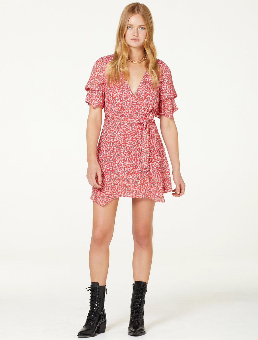 Stevie May red micro floral mini dress