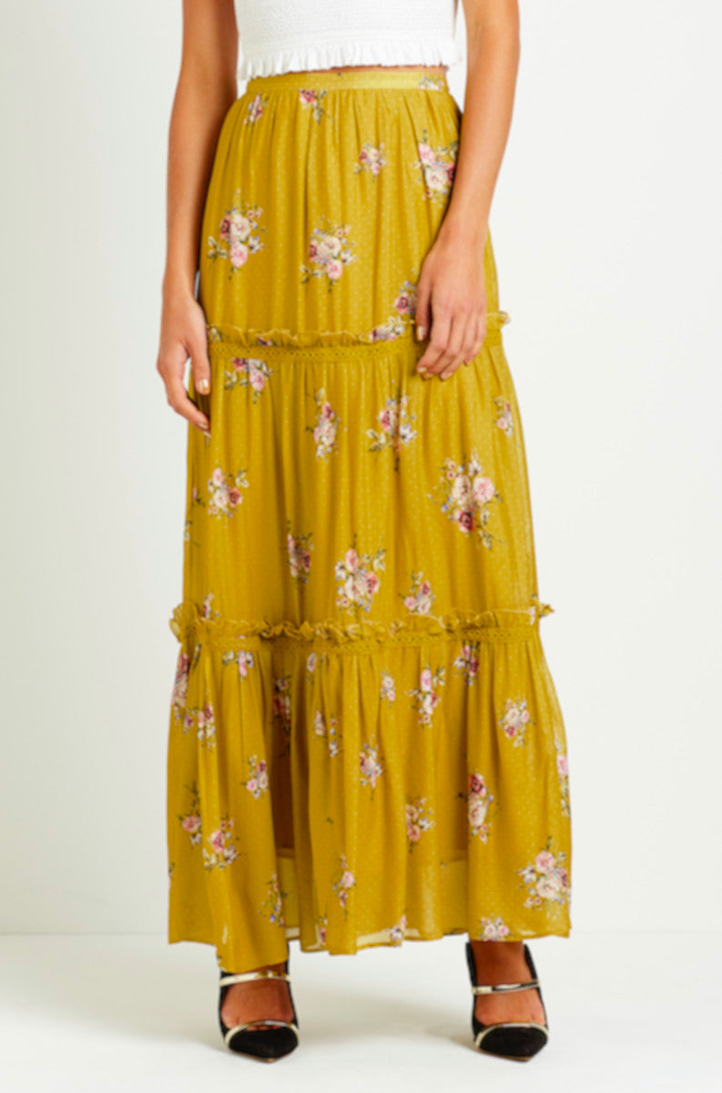 Steele boho and flowy Bellflower Maxi Skirt in Saffron