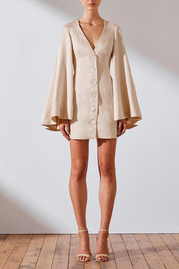 WREN LINEN CIRCLE SLEEVE MINI DRESS