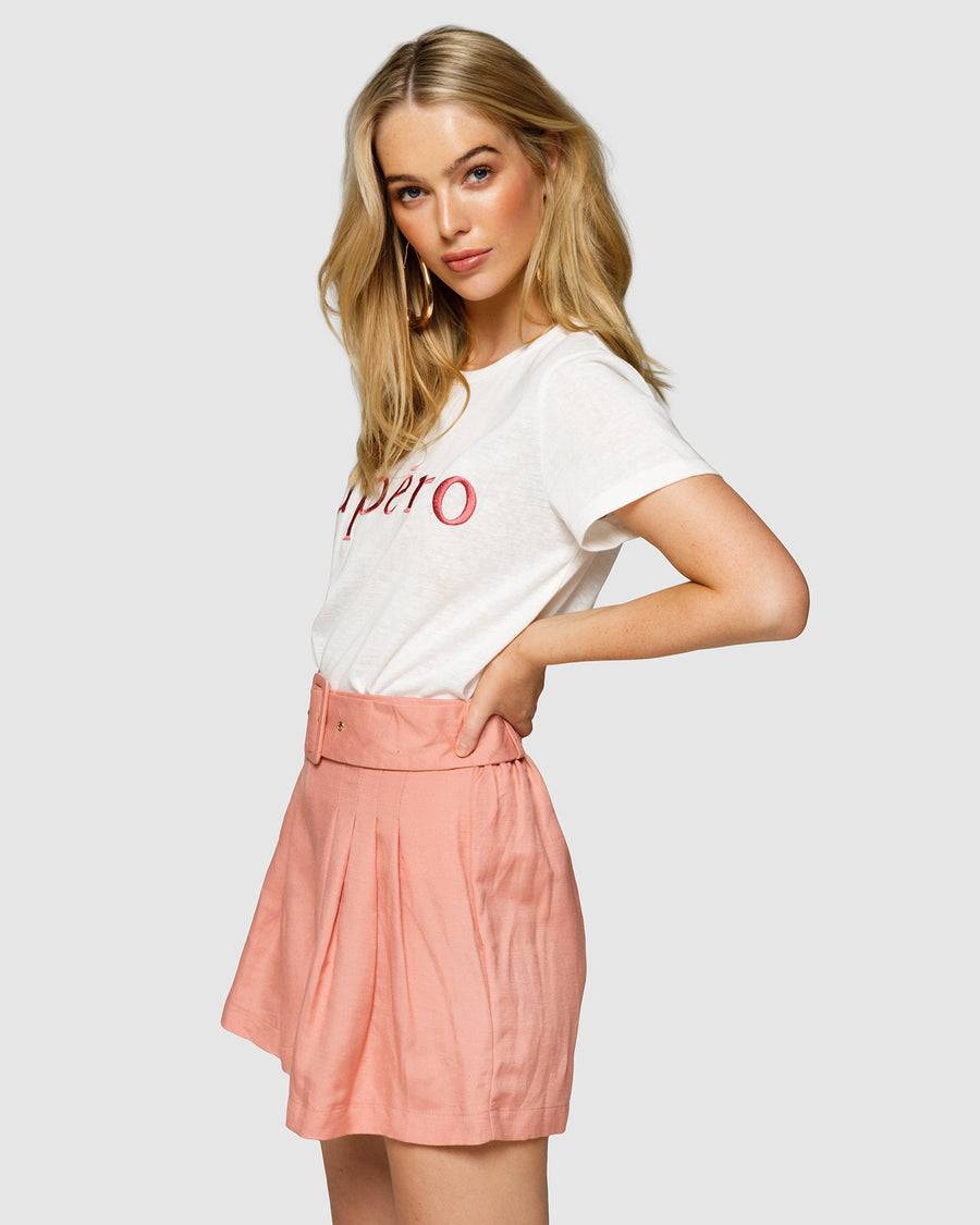 APERO EMBROIDERED FEMME TEE- WHITE/BURNT ROSE