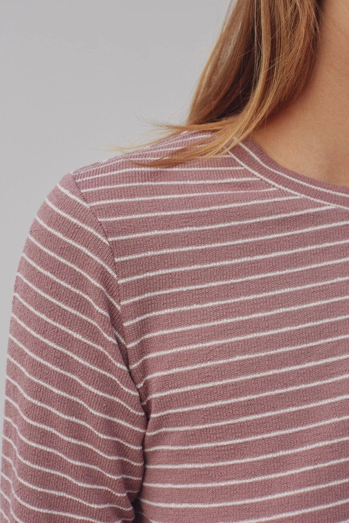 Digital Stripe Top in Mauve w/ White