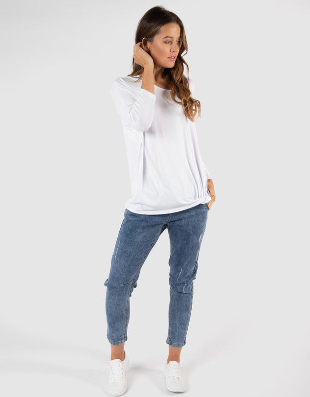 ATLANTA 3/4 SLEEVE TOP - WHITE