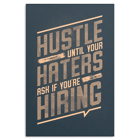 Hustle Motivational Canvas - Navy & Cream