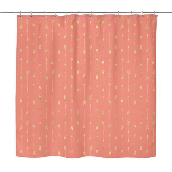 Gold Arrow Pattern Shower Curtain