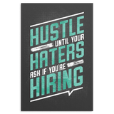 Hustle Motivational Canvas - Turquoise & Black