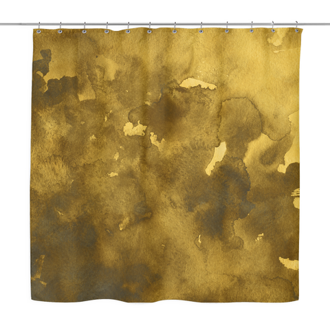 Gold Watercolor Shower Curtain