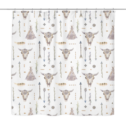 Native Arrows & Skulls Shower Curtain