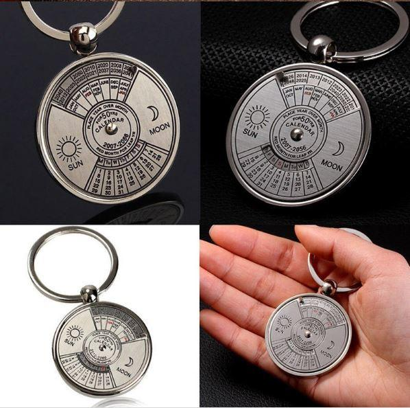 1 pc NEW Perpetual Calendar Keyring Keychain Unique Metal Keys Chain Ring Key Fobs Accessories 50 Year novelty fine jewelry