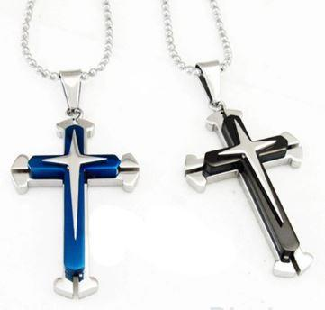 High Quality Blue Black Silver Stainless Steel Cross Pendant Men's Necklace Chain Accessories 02K9 36XS