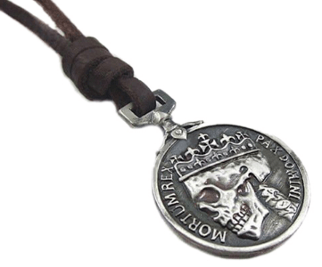 Men's Charms Vintage Silver Skull Pendant Genuine Leather Necklace