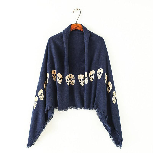 140cm*140cm Pashmina Euro Brand Scarves design cloak Tassels and Skull Pattern Women Square Size warm Scarf Big Shawl Soft wraps