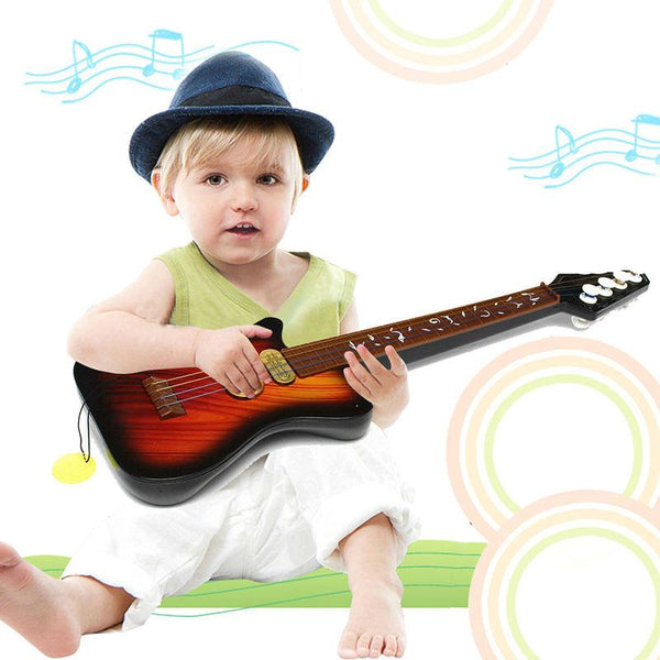 1Pcs Kid's Baby 4 String Acoustic Toy Guitar Wisdom Development Simulation Music Toy Wood Guita Random Color K5BO