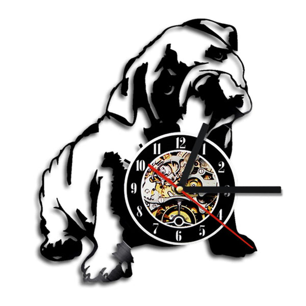 1Piece Bulldog Laser Etched Vinyl LP Record Battery Operated Dog Wall Clock Gift For Dog Lovers Dog Owners