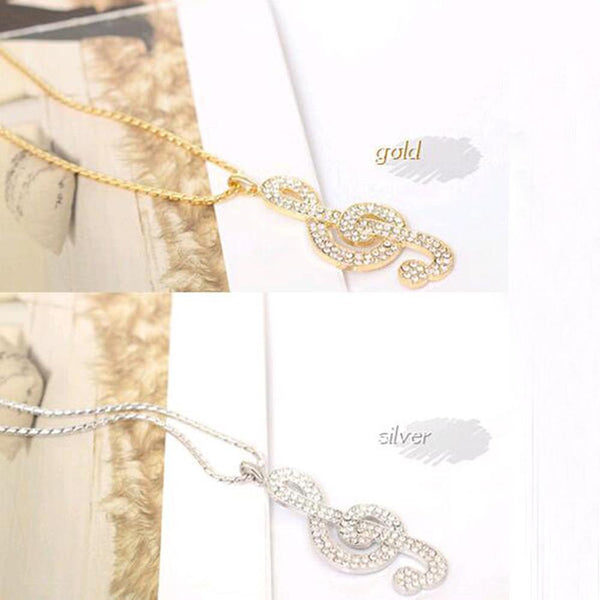 Rhinestone Rhythm Music Note Suspension Long Chain Necklace