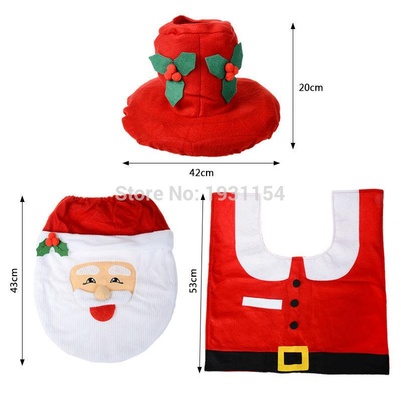 2016 Santa Claus Toilet Seat Cover And Rug Bathroom Set Contour Christmas Decorations For Home