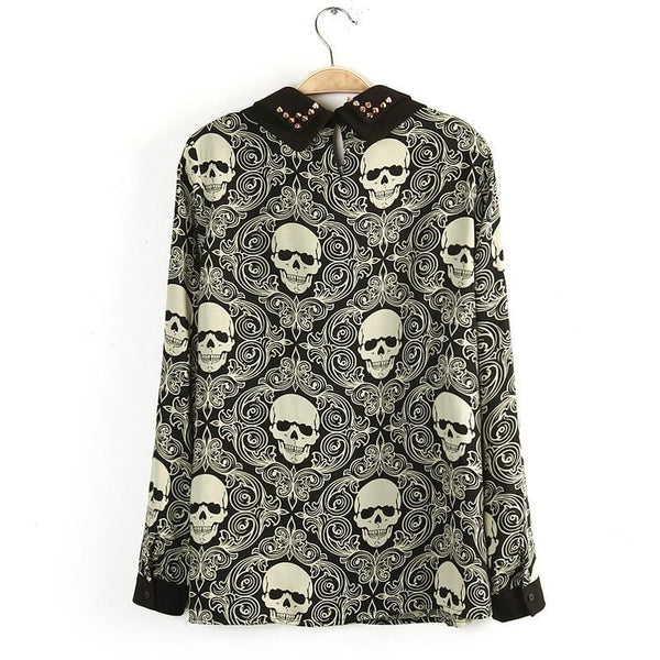 Women Lady Blouse Double-layer New Fashion Rivet Skull Heads Print Shirt Long Sleeve Tops 60559